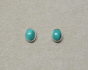 Malachite STERLING silver earrings with a post.