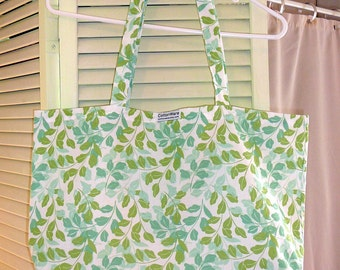 Tote, Market Bag, Shopping Bag, Cotton Print Fabric, Green, Aqua, Leaves