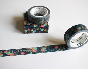 Black floral washi tape, flower washi tape, pretty nature cute washi tape (FL-106)