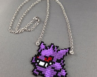 Gengar Necklace - Pixel Necklace Pokemon Necklace Pixel Jewelry 8 bit Necklace Seed Bead Neklace Video Game Necklace Starter Pokemon