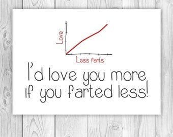 "Rude birthday / anniversary / Valentines day Card ""I'd love you more if you farted less"" for boy girlfriend husband wife PR0038"