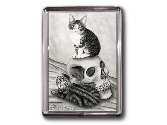 Witch Cat Magnet Kittens Skull Gothic Fantasy Cat Art Framed Magnet Gifts For Cat Lovers