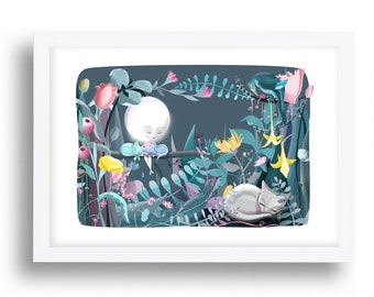 Moon Cats art Print - Illustration drawing cats moon lady cat nursery art  A4 / A3 / A5 / 8 x 10 giclee print