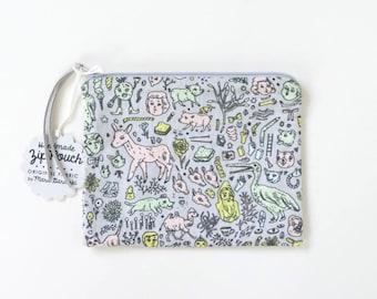 Small Doodletown Zipper Pouch | Original Fabric Design | Grey / Pink / Mint