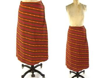 70s Cotton Wrap Around Skirt / Vintage 1970s Boho Hippie Maxi Skirt with Stripe Pattern / Guatemalan Folk Skirt
