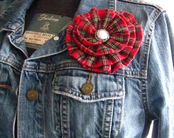 Red Tartan Flower Brooch.Hair Clip.Pin.Tartan Plaid.Tartan Hair Accessory.Red,Blue,White.Tartan Hair Clip.Pin.Tartan Flower.headpiece.Large