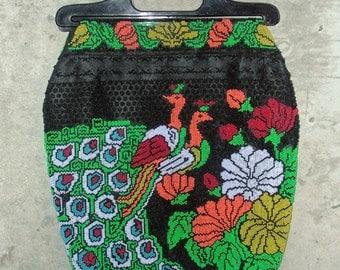 PEACOCK PASSION - vintage 1960s 1970s bohemian peacock seed bead handbag or tote