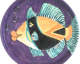 Ceramic Handmade Stoneware Fish Plate Made to Order Humuhumunukunukuapuaa and Bubbles on Amethyst  PL003