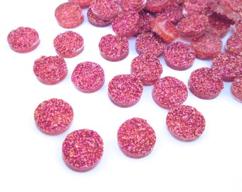 10 Iridescent Dark Pink 12mm Resin Druzy Cabochons, E131