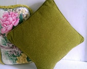 Small Vintage  Square Olive Green Pillow
