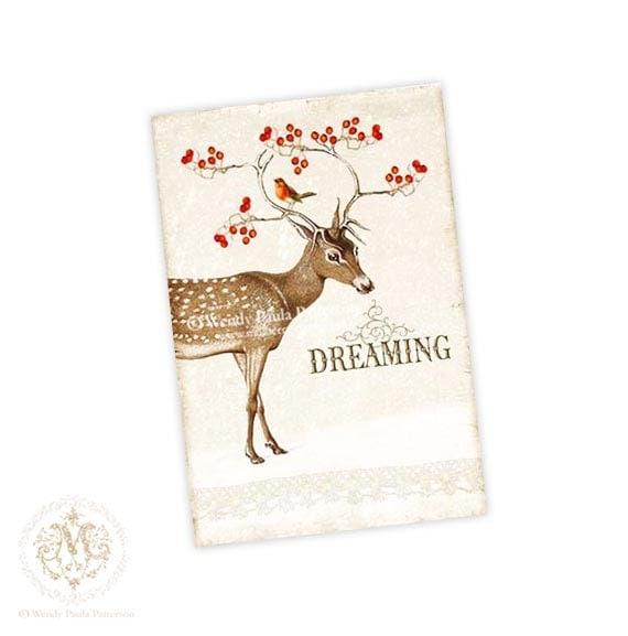 Deer, Christmas card, dreaming, reindeer, antlers, red berries, robin, Christmas postcard, vintage style, woodland, snow, holiday card