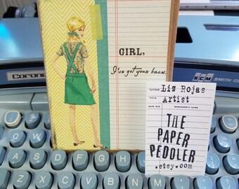 Vintage Best Friends Encouragement Uplifting Card Handmade Collage Art Hand stamped Blank inside