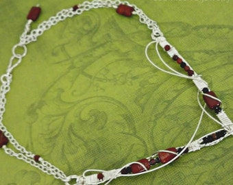 Dragon's Lady Wire Wrapped V Style Gemstone Locking Day Choker, Made To Order