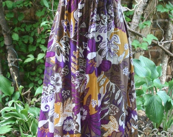 Purple and mustard floral small medium halter dress cotton India print