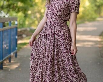 Vintage Burgundy Wine Floral Liz Claiborne Maxi Dress (Size Medium)