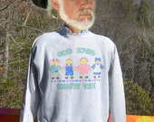 vintage 80s sweatshirt GOD loves COUNTRY folk gray raglan crewneck Large Medium 90s