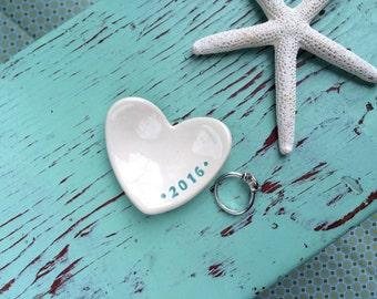 Heart Mini Ceramic Ring Dish with 2016, 2016 Heart Shaped Ceramic Ring Dish
