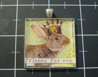 "Crowned King Rabbit Pendant, ""Friends Fur-Ever"", 50% goes to the current focus charity"