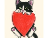 "Valentine's Day Cat Love art print black cat print - 4"" X 6"" kitty print - 4 for 3 Sale"
