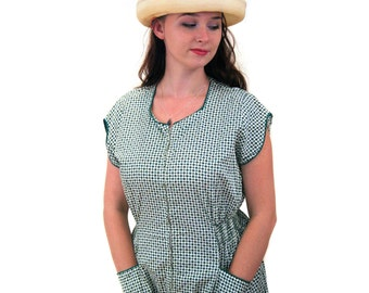 Cupcake Time, 40s Dress M L, Green White Cotton Print Day Dress, Zip Front Mid Century House Dress
