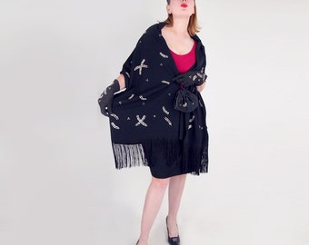 50s Exceptional Beaded Black Shawl, Hat, Purse and Gloves Set by Odette - Palma de Mallorca Spain