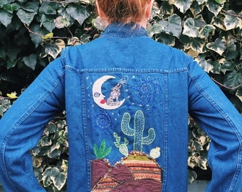 Wolf Moon Embroidered Vintage Denim Jacket