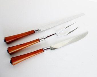 Glo Hill Bakelite Carving Set, Bread Knife Meat Fork and Meat Knife, Connoisseurs Vintage Serving Utensils Art Deco Caramel brown bakelite
