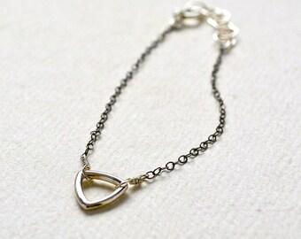 Island Bracelet - black metal triangle bracelet, delicate geometric jewelry, dainty stocking stuffer, dainty triangle bracelet