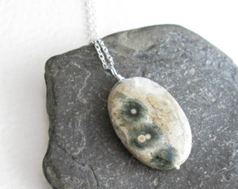 Green Ocean Jasper Necklace, Natural Stone Jewelry, Rock Hound Pendant