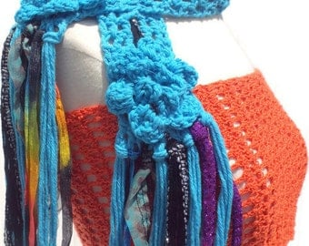 "Royal blue crochet cotton handmade scarf   ""THE OCEAN BLUE"" with embellishment The Bohemian line"