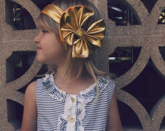Large Bow Metallic Stretch Headband, Same Day Shipping