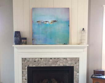 Minimalist Abstract Landscape Canvas Print, Large Giclee Print, Modern Home, Coastal Wall Art, Coastal Wall Decor, Beach Cottage Decor