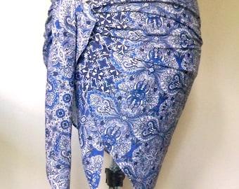 Paisley Mini Pareo, Bandeau Top, Summer Scarf, Bohemian Shawl, Versatile Wrap, Boho Clothing, Stretch knit, Blue Sash, Fabric Belt,