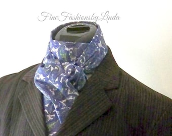 Equestrian Stock Tie, Blue Green White, Paisley Fabric, All Cotton, Made to Order