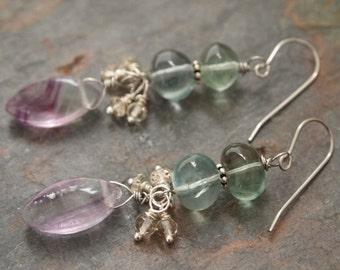 Aquamarine and Fluorite Earrings