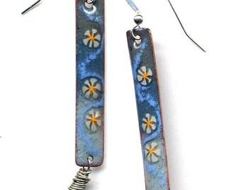 Enamel Earrings, Labradorite Silver Grey Earrings, Blue Yellow Grey Sterling Silver Earrings, 925 Silver Enamel Earrings, Enamel Earrings
