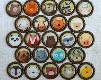 Animal Bottlecap Magnets- Zoo, Farm, Forest, Arctic Animals- Bears, Owl, Pig, Fox, Panda, Lion, Zebra, Monkey, Cow- Classroom Magnets