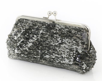 Metallic Pewter Charcoal Sequins Clutch   Bridesmaids   Mother's Clutch