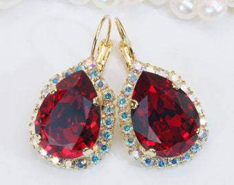 Red Swarovski Crystal Earrings Ruby Red Bridal Teardrop Earrings Valentines Gift For woman Deep Red Drop Gold Earrings AB Halo ,Gold,GE101