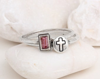 Sterling Silver Cross Ring with Birthstone Stack Set Personalized Initial Custom June Birthstone Ring