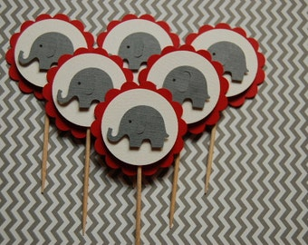 Grey and Red Elephant Cupcake Toppers -- Set of 6 -- Baby Shower-First Birthday-Boy-Girl-Elephant Party-Elephant Picks-Ready to Ship