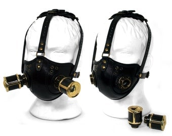STEAMPUNK LEATHER Mask black leather Respirator Raider Double Canisters
