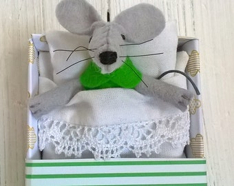Baby shower gift girl felt mouse plush stuffed animal emerald green tiny felted animals in matchbox newborn doughter preteen kids birthday