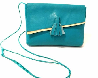Turquoise Olympian Blue Tassel Cross Body and Clutch