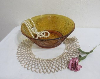 Amber Tiara Sandwich Glass 8 Inch Bowl