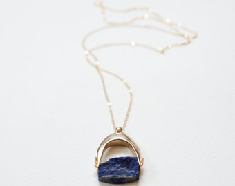 Lazurite Necklace - Cast Bronze Pendant with Lapis Lazuli