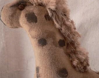 Primitive Handmade Giraffe Pull Toy, Nursery Decor, Prim, Home Decor Primitive, Pull Toy, Giraffe, Primitive Giraffe, Prim Giraffe, HAFAIR