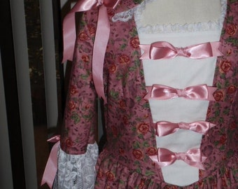 1770s - Historical Colonial Gown Dress Costume and Pinner Cap for Girls