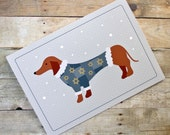 Hanukkah Sweater Dog Dachshund Holiday Greeting Card