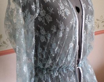 vintage lace jacket, blue lace jacket, pale blue lace, exquisite piece, vintage lingerie, vintage jacket, vintage underwear,